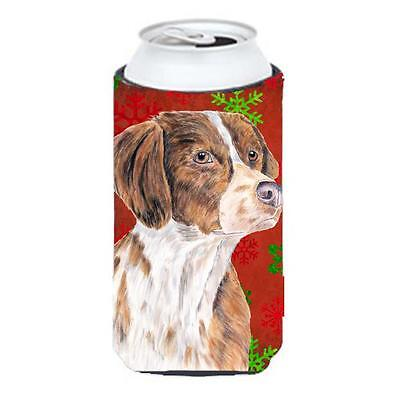 Brittany Red And Green Snowflakes Holiday Christmas Tall Boy Hugger 22 To 24 oz.