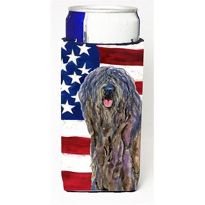 Usa American Flag With Bergamasco Sheepdog Michelob Ultra s For Slim Cans 12 oz.