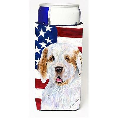 Usa American Flag With Clumber Spaniel Michelob Ultra s For Slim Cans 12 oz.