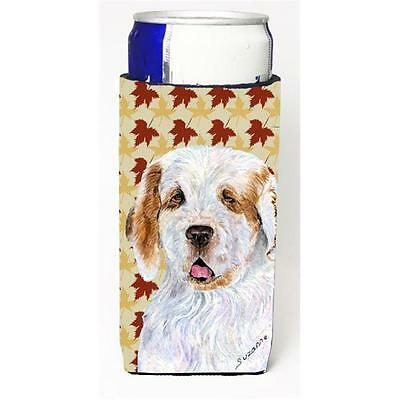 Clumber Spaniel Fall Leaves Portrait Michelob Ultra bottle sleeve for Slim Can