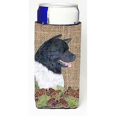 Akita On Faux Burlap With Pine Cones Michelob Ultra bottle sleeve for Slim Can