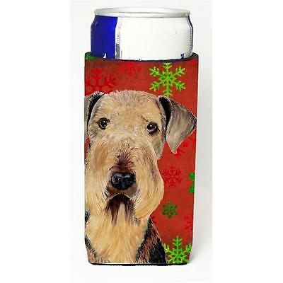 Airedale Red and Green Snowflakes Holiday Christmas Michelob Ultra s for slim...