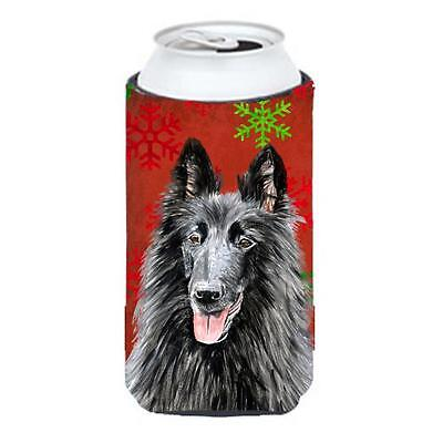 Belgian Sheepdog Snowflakes Holiday Christmas Tall Boy Hugger 22 To 24 oz.