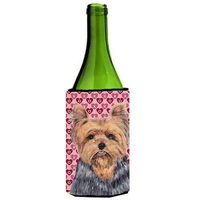 Yorkie Hearts Love and Valentines Day Portrait Wine bottle sleeve Hugger