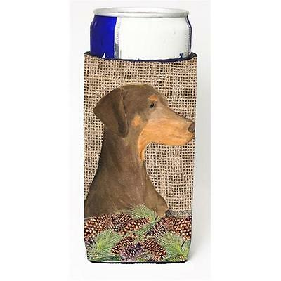 Doberman On Faux Burlap With Pine Cones Michelob Ultra bottle sleeve for Slim...