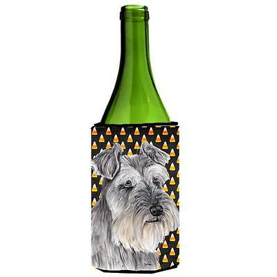 Schnauzer Candy Corn Halloween Portrait Wine Bottle Hugger 24 oz.