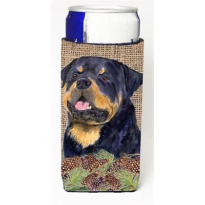 Rottweiler On Faux Burlap With Pine Cones Michelob Ultra bottle sleeves For S...