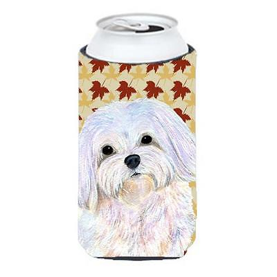 Carolines Treasures Maltese Fall Leaves Portrait Tall Boy bottle sleeve Hugger