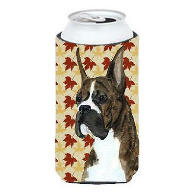 Boxer Brindle Fall Leaves Portrait Tall Boy bottle sleeve Hugger 22 To 24 oz.