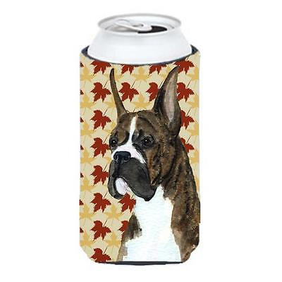 Boxer Brindle Fall Leaves Portrait Tall Boy bottle sleeve Hugger 22 To 24 oz. • AUD 47.47