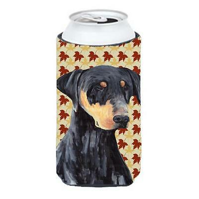Carolines Treasures Doberman Fall Leaves Portrait Tall Boy Hugger 22 To 24 oz.
