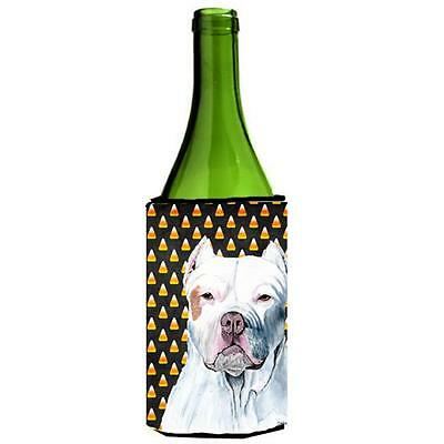 Carolines Treasures Pit Bull Candy Corn Halloween Portrait Wine Bottle Hugger