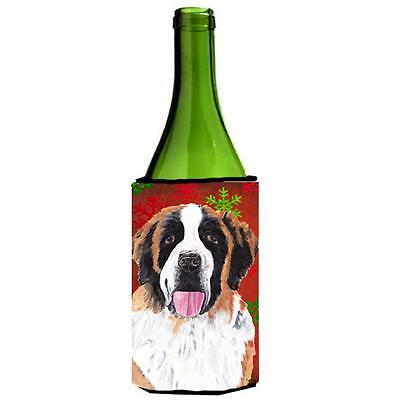 Saint Bernard Red Green Snowflake Christmas Wine Bottle Hugger