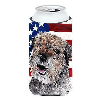 Border Terrier Mix Usa American Flag Tall Boy bottle sleeve Hugger 22 To 24 oz.