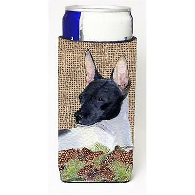 Rat Terrier On Faux Burlap With Pine Cones Michelob Ultra bottle sleeve for S...