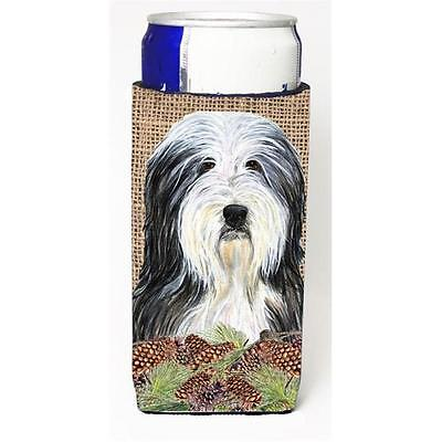 Bearded Collie on Faux Burlap with Pine Cones Michelob Ultra bottle sleeves f...