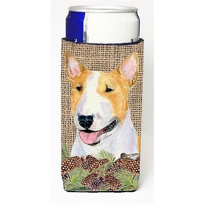 Bull Terrier on Faux Burlap with Pine Cones Michelob Ultra bottle sleeves for...