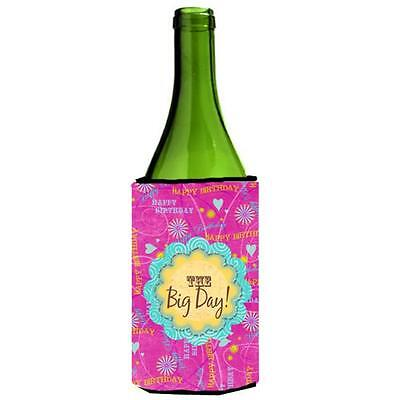Happy Birthday The Big Day Pink Wine bottle sleeve Hugger 24 oz.