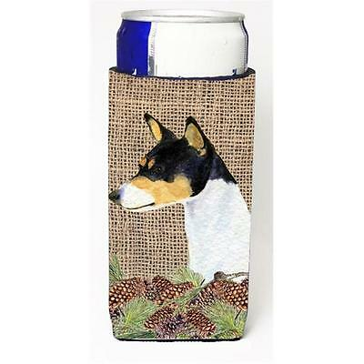 Basenji On Faux Burlap With Pine Cones Michelob Ultra bottle sleeves For Slim...