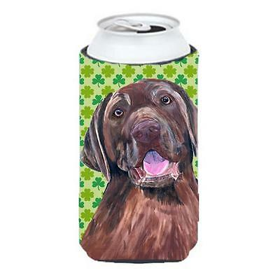 Labrador Chocolate St. Patricks Day Shamrock Portrait Tall Boy bottle sleeve ...