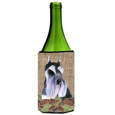 Schnauzer On Faux Burlap With Pine Cones Wine bottle sleeve Hugger