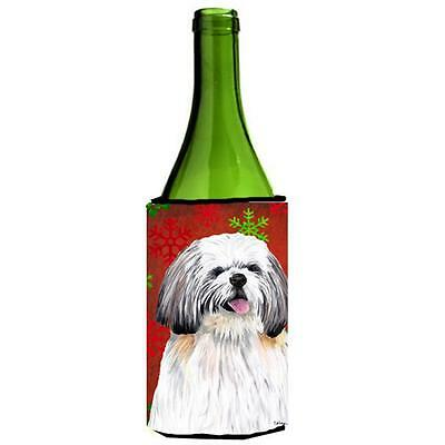 Shih Tzu Red and Green Snowflakes Holiday Christmas Wine Bottle Hugger