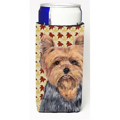 Yorkie Fall Leaves Portrait Michelob Ultra bottle sleeves For Slim Cans 12 oz.