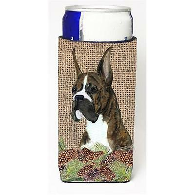 Brindle Boxer on Faux Burlap with Pine Cones Michelob Ultra bottle sleeves fo...