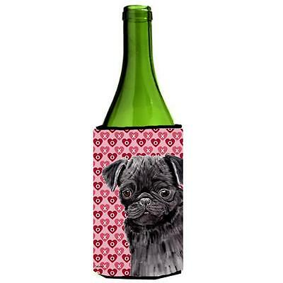 Pug Black Hearts Love and Valentines Day Portrait Wine bottle sleeve Hugger 2...