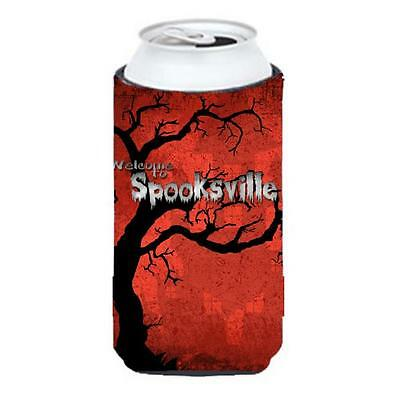Welcome To Spooksville Halloween Tall Boy bottle sleeve Hugger 22 To 24 oz.