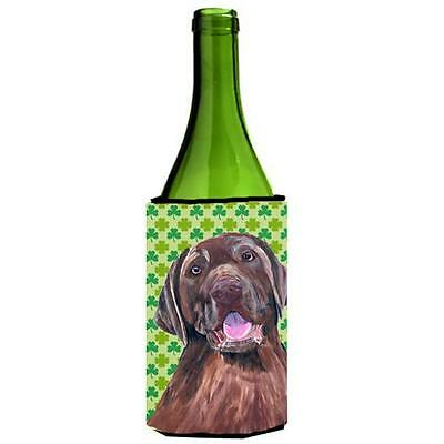 Labrador Chocolate St. Patricks Day Shamrock Wine bottle sleeve Hugger 24 oz.