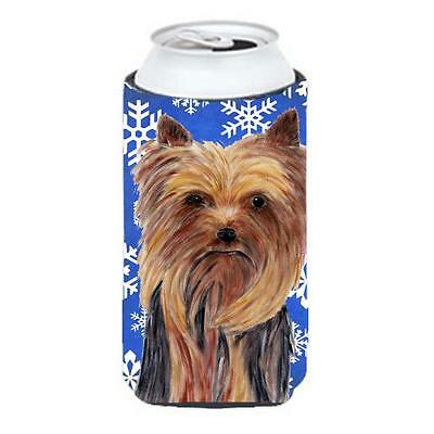 Yorkie Winter Snowflakes Holiday Tall Boy bottle sleeve Hugger 22 To 24 oz.