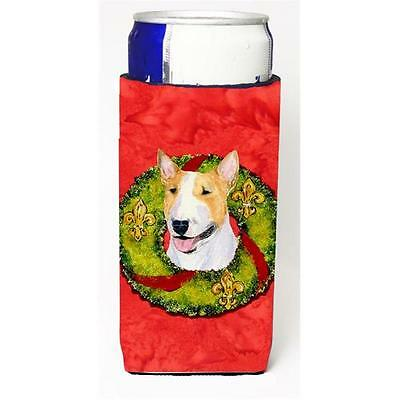Bull Terrier Christmas Wreath Michelob Ultra bottle sleeves For Slim Cans 12 oz.