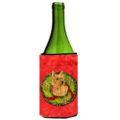 Norwich Terrier Christmas Wreath Wine bottle sleeve Hugger 24 oz.