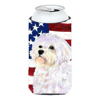 Usa American Flag With Maltese Tall Boy bottle sleeve Hugger 22 To 24 oz.