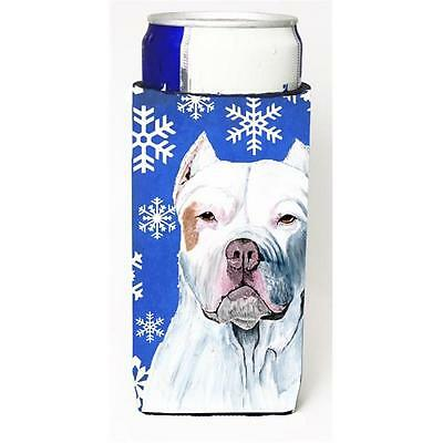 Pit Bull Winter Snowflakes Holiday Michelob Ultra bottle sleeves For Slim Cans