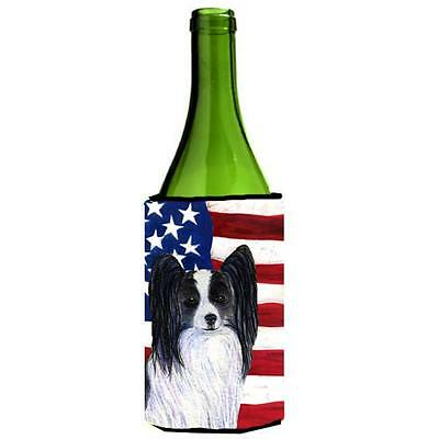 Carolines Treasures Usa American Flag With Papillon Wine Bottle Hugger 24 oz.