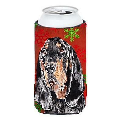 Coonhound Red Snowflake Christmas Tall Boy bottle sleeve Hugger 22 To 24 oz.