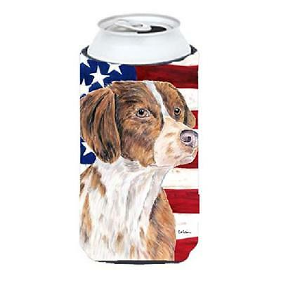 Carolines Treasures SC9112TBC USA American Flag with Brittany Tall Boy Hugger