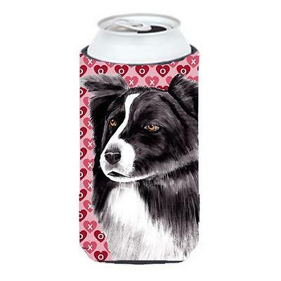 Border Collie Hearts Love and Valentines Day Portrait Tall Boy bottle sleeve ...