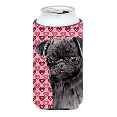 Pug Black Hearts Love and Valentines Day Portrait Tall Boy bottle sleeve Hugg...