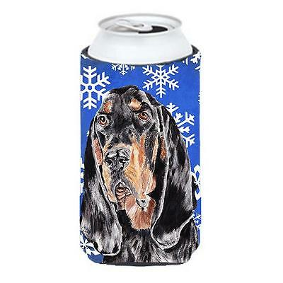 Coonhound Blue Snowflake Winter Tall Boy bottle sleeve Hugger 22 To 24 oz.