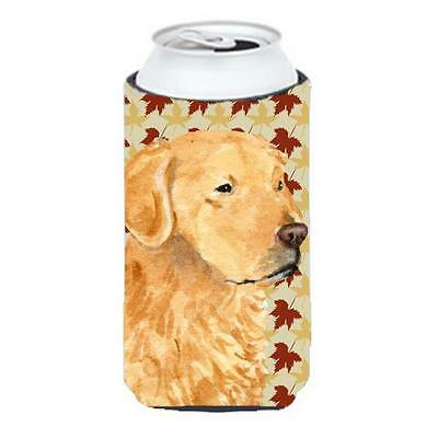 Golden Retriever Fall Leaves Portrait Tall Boy bottle sleeve Hugger