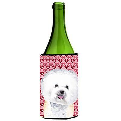 Bichon Frise Hearts Love and Valentines Day Portrait Wine bottle sleeve Hugge...