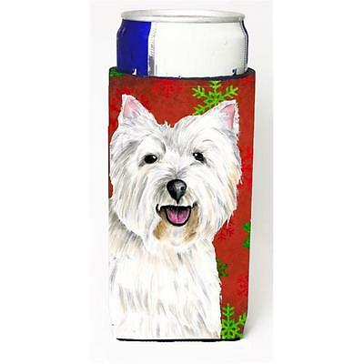 Westie Red and Green Snowflakes Holiday Christmas Michelob Ultra s for slim cans