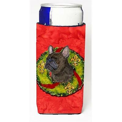 Brindle French Bulldog Cristmas Wreath Michelob Ultra bottle sleeves For Slim...
