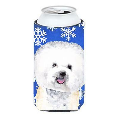 Bichon Frise Winter Snowflakes Holiday Tall Boy bottle sleeve Hugger 22 To 24...