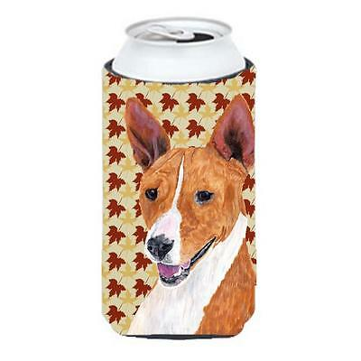 Basenji Fall Leaves Portrait Tall Boy bottle sleeve Hugger 22 To 24 oz.