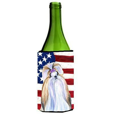 Carolines Treasures Usa American Flag With Shih Tzu Wine bottle sleeve Hugger