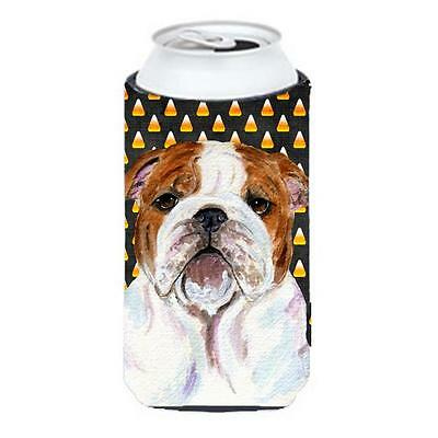 Bulldog English Candy Corn Halloween Portrait Tall Boy bottle sleeve Hugger 2...